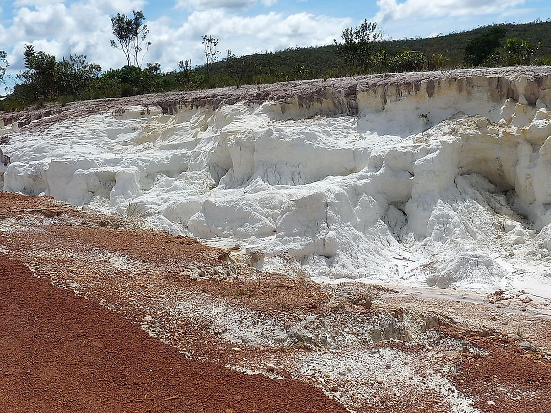 A deposit of kaolin near Cantarrana in Bolivar state,
