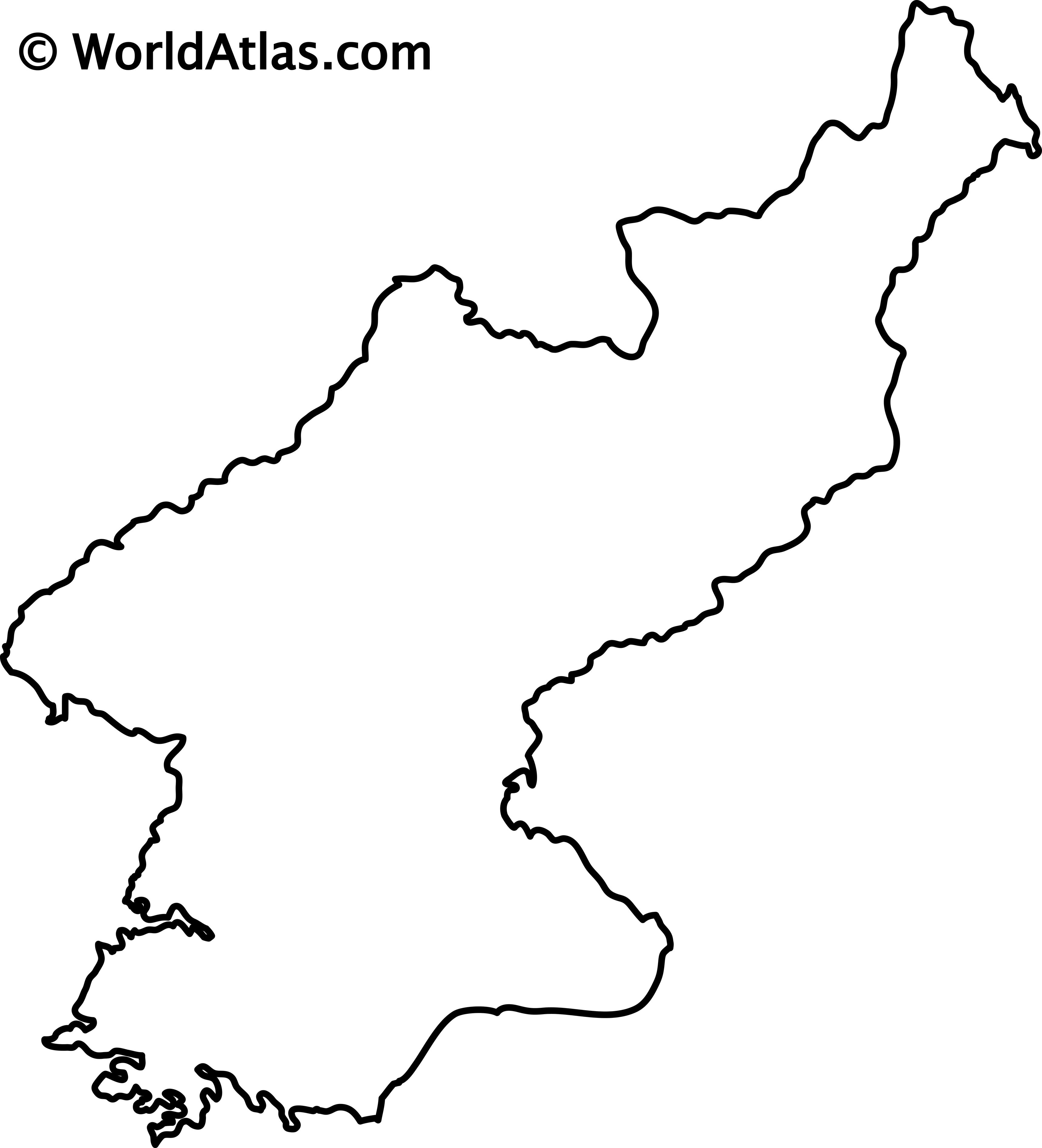 Blank Outline Map of North Korea