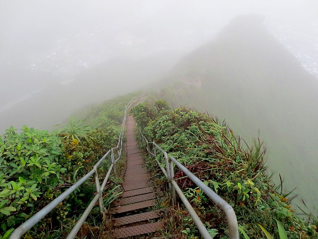 Oahu's Haiku Stairs make for (illegal) good times for fit (and adventurous) hiking enthusiasts as they wind and twist their way up the steep Koʻolau mountainsides.