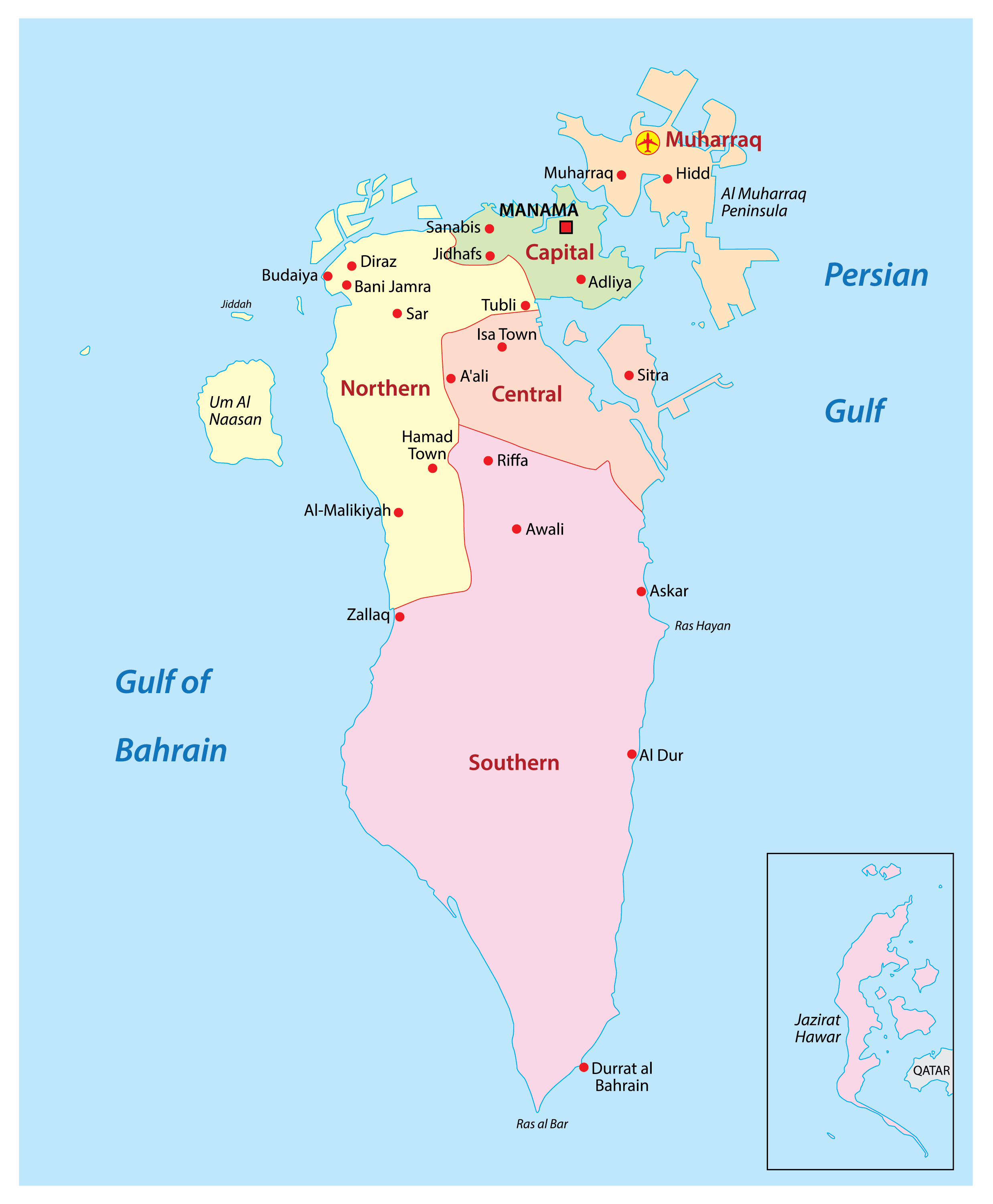 Political Map of Bahrain showing 4 governorates, their capitals, and the national capital of Manama.