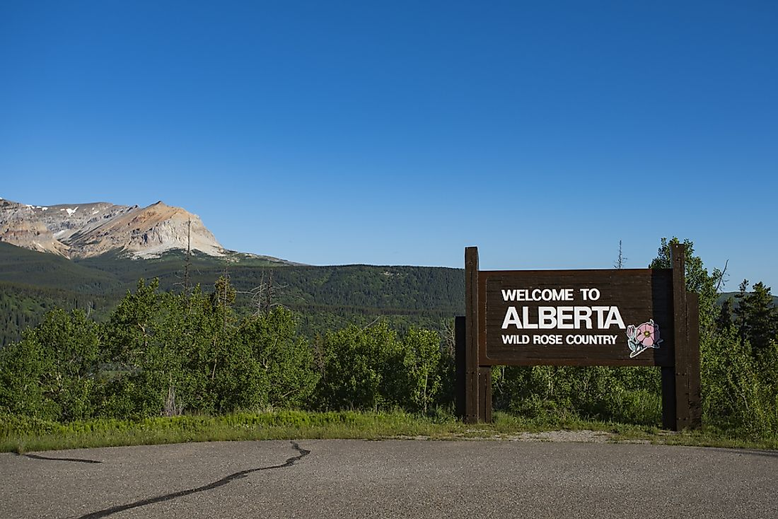 """Welcome to Alberta"" sign."