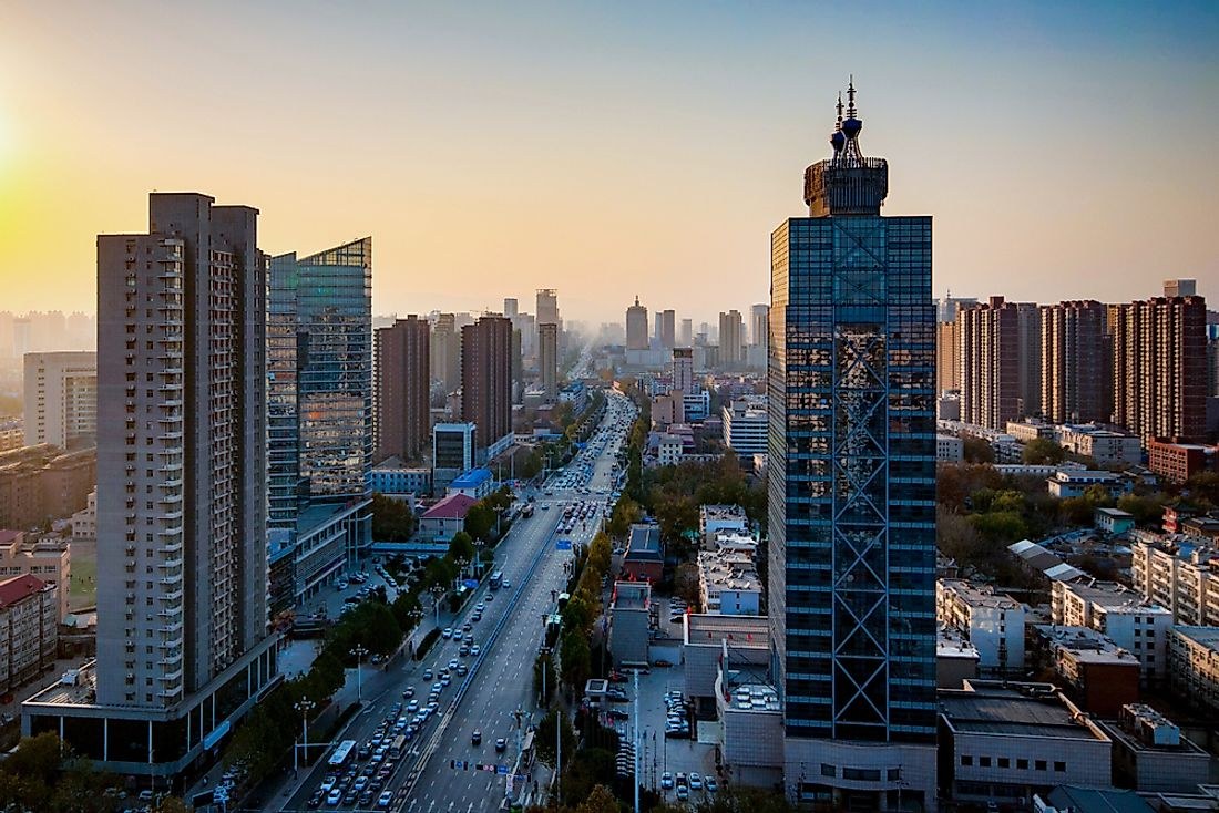 The cityscape of Shijiazhuang, China.