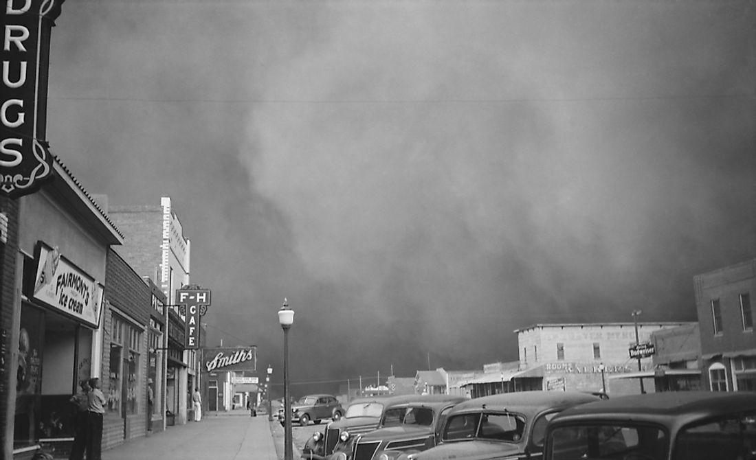A dust storm photographed in Elkhart, Kansas in 1937.