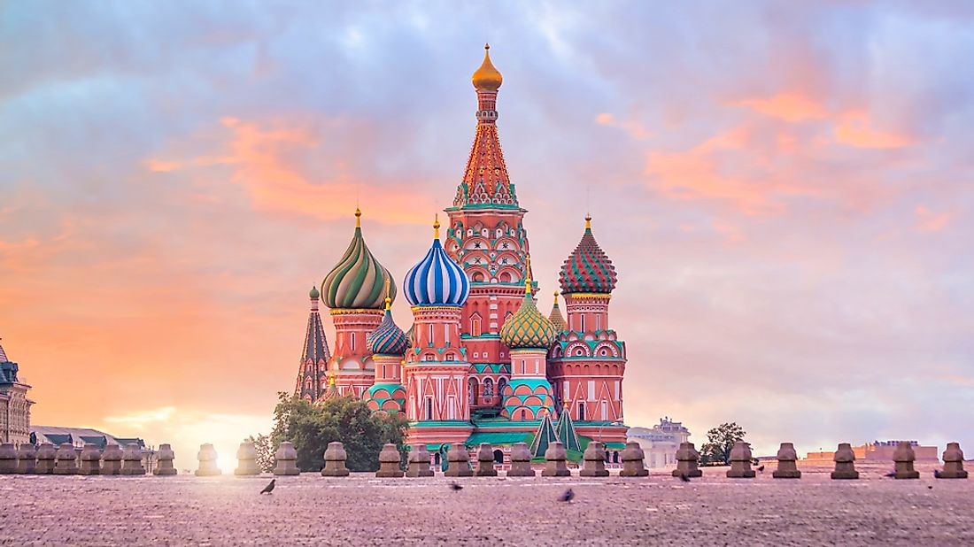 The famous Basil's Cathedral in Moscow.