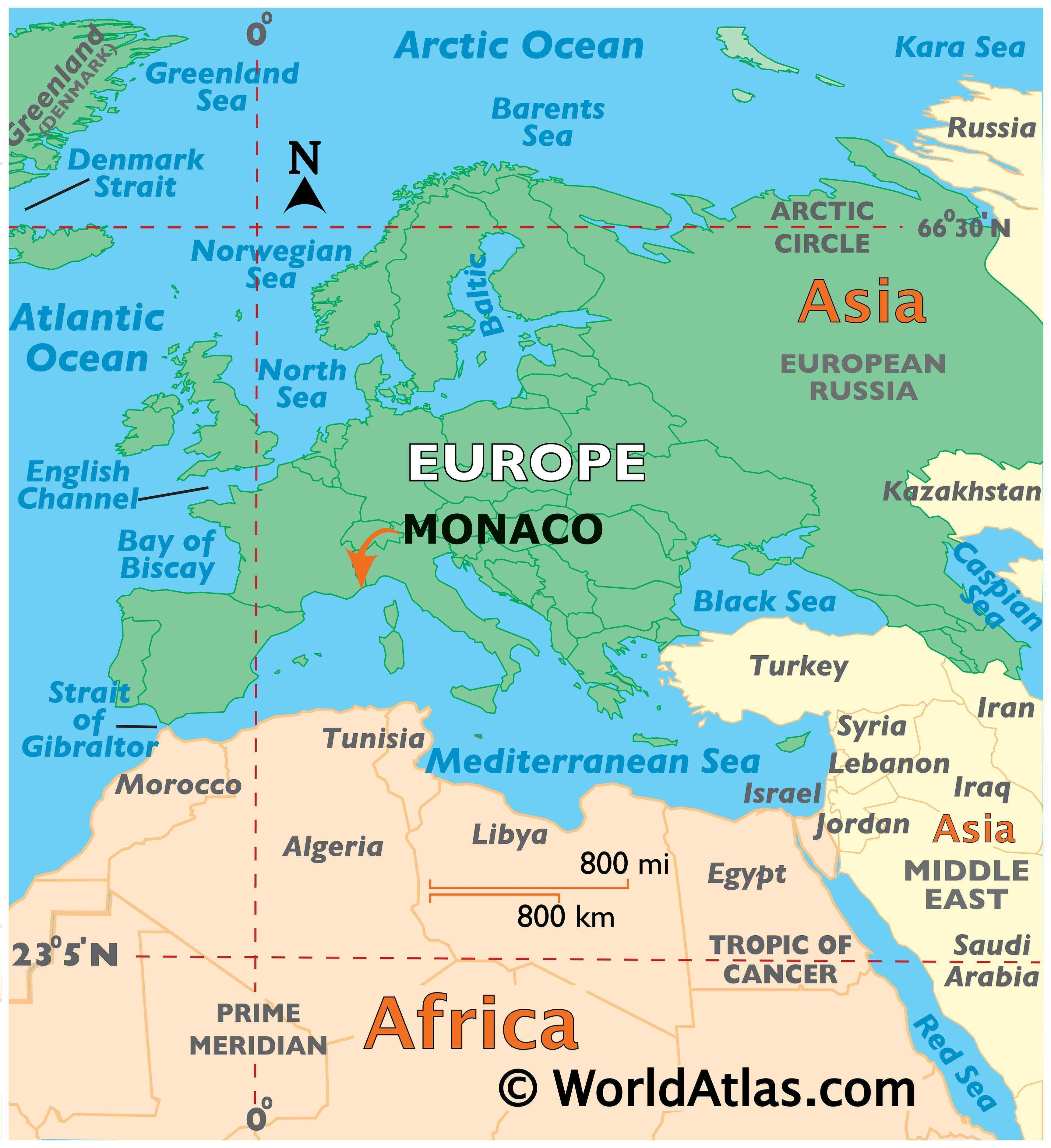 Map showing location of Monaco in the world.
