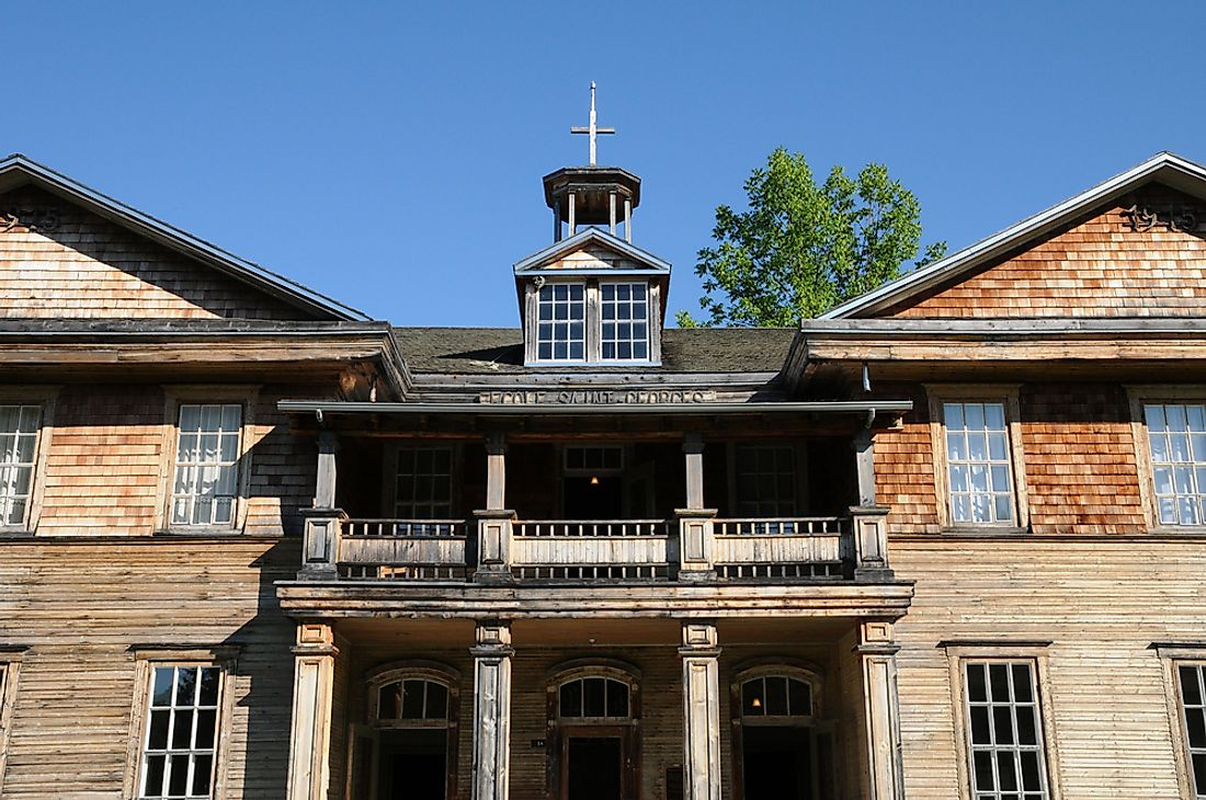 The former school of Val-Jalbert, in Quebec, Canada.