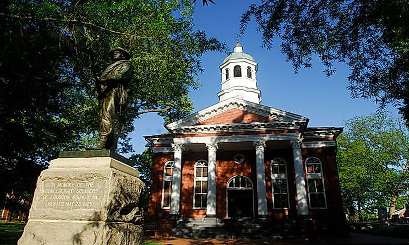 The courthouse in the center of historic Leesburg is the seat of government for Loudoun County, Virginia.