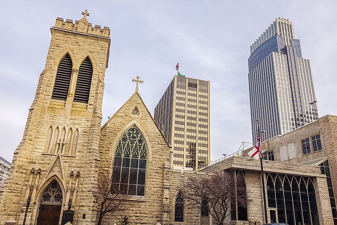 Trinity Cathedral is seen in Omaha, Nebraska.