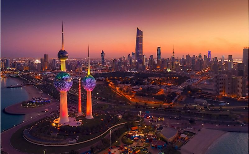 The spectacular Kuwait City at night.