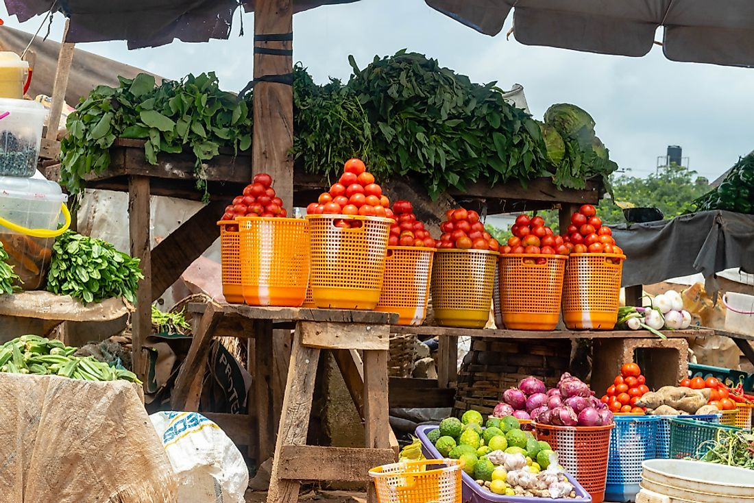 A local market in Nigeria. Nigerians spend on average more than 50% of their income on food.