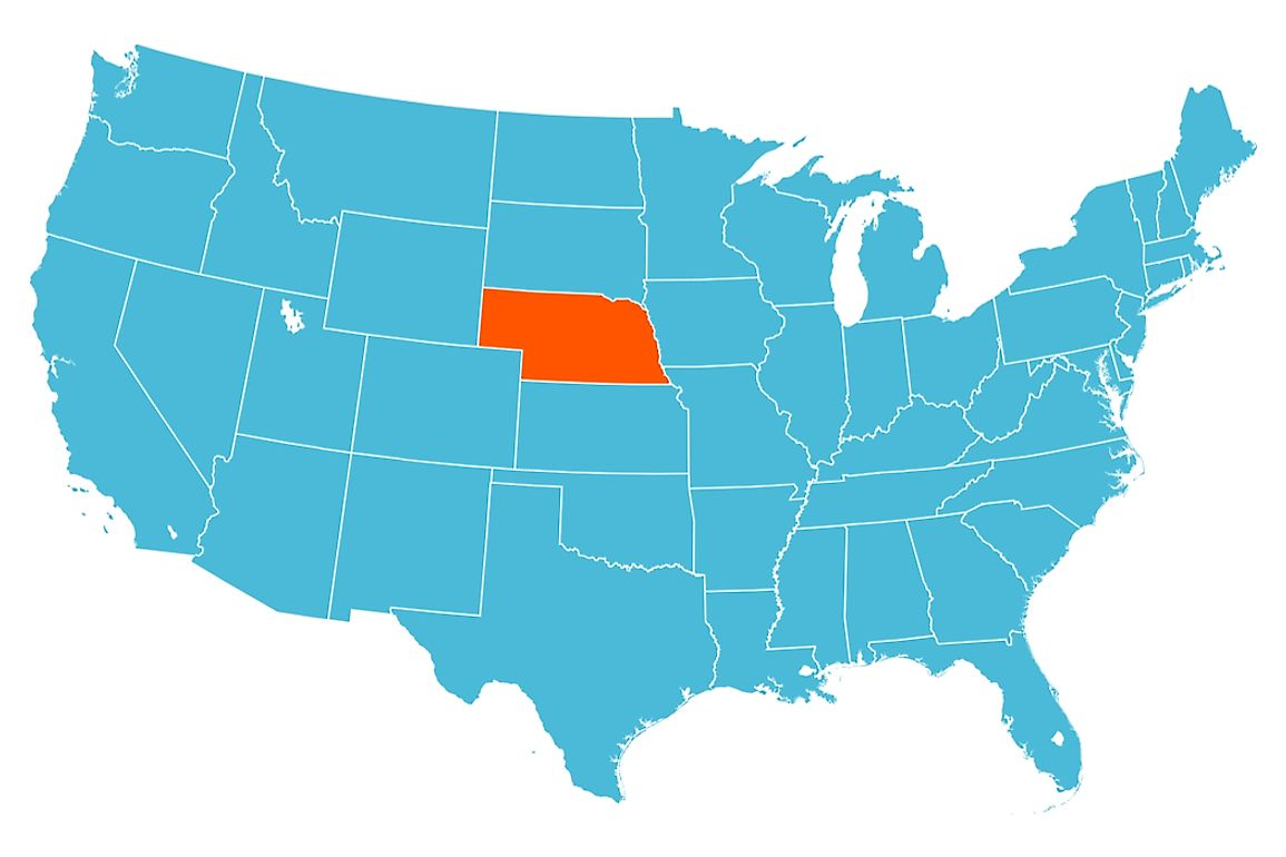 Nebraska is encircled by three states on either side from the nearest gulf, bay, or ocean.