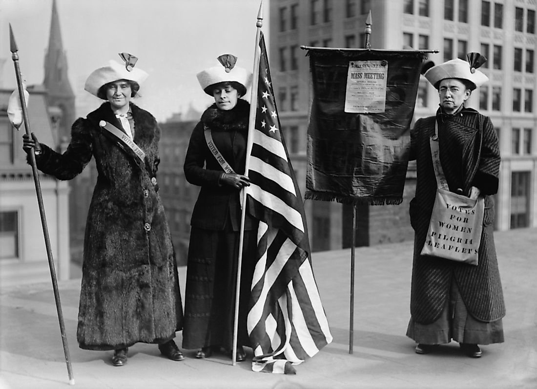 Suffragettes promote the women's suffrage movement during the Suffrage Hike of 1912.