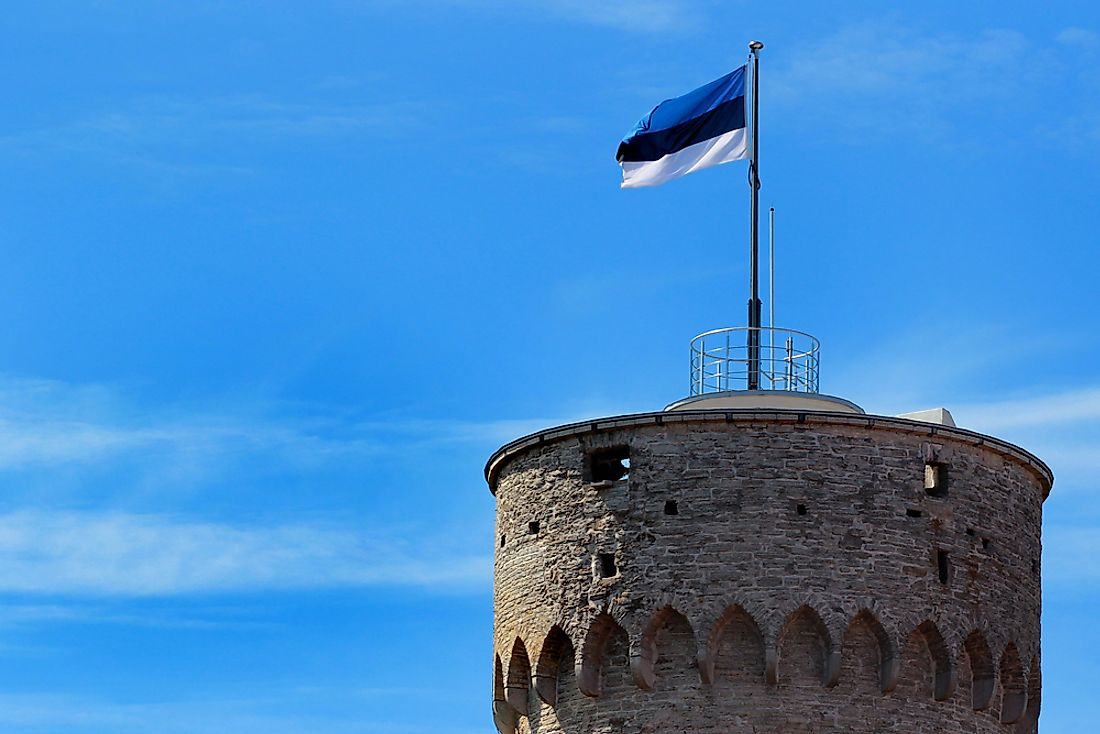 The flag of Estonia in the Old Town of Tallinn.