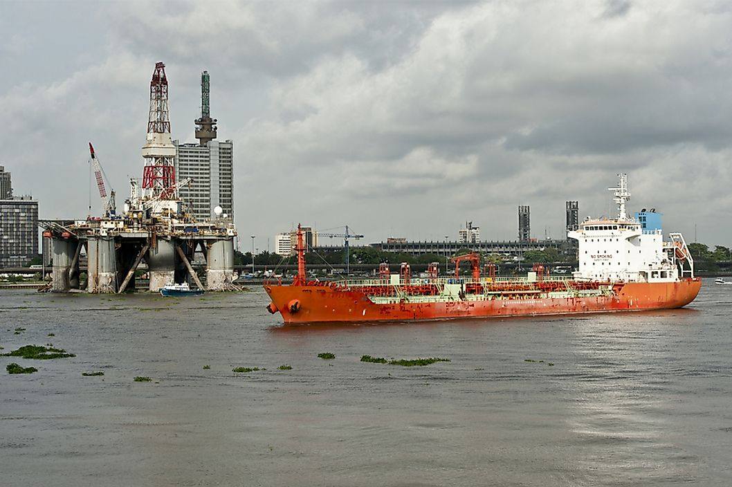An oil rig in Lagos, Nigeria.