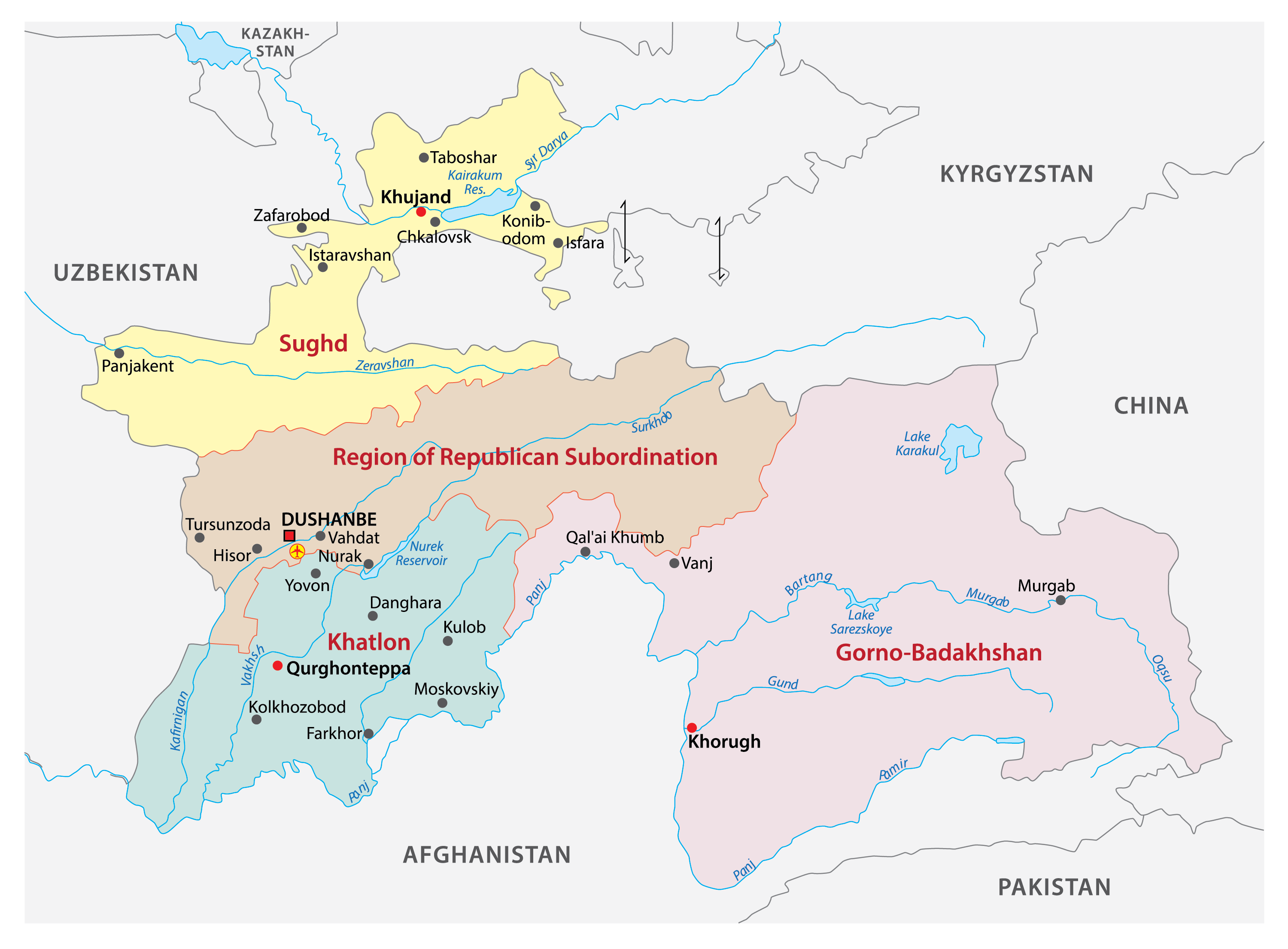 The Political Map of Tajikistan displaying its four provinces, their capitals and the capital city of Dushanbe.