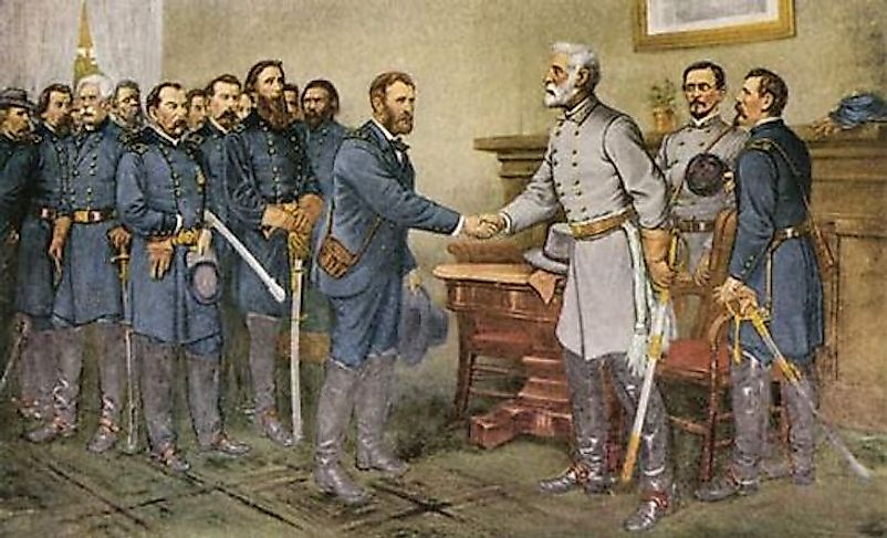 General Lee's surrender to General Grant marked the beginning of the end for the Confederate States.