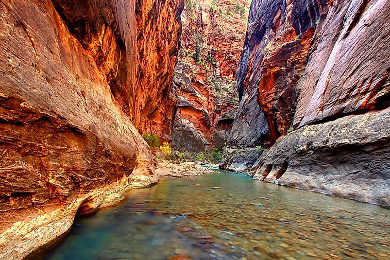 North Folk Virgin River flowing through the base of Utah's Zion Canyon.