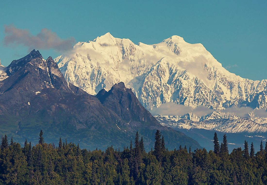 In North America, the 19,685 ft or 6000 m tall Mount Denali is the tallest mountain.