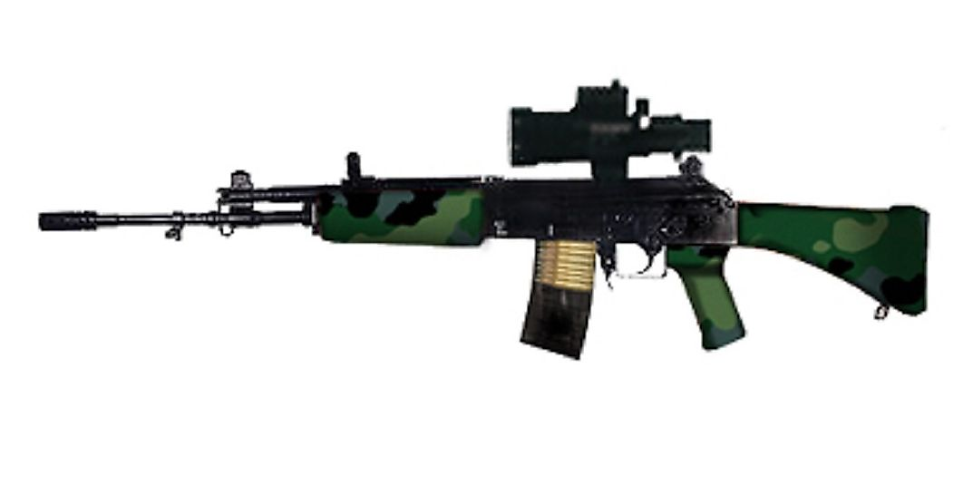 The Indian Small Arms System light machine gun and assault rifle is the primary service rifle of the Indian Armed Forces.