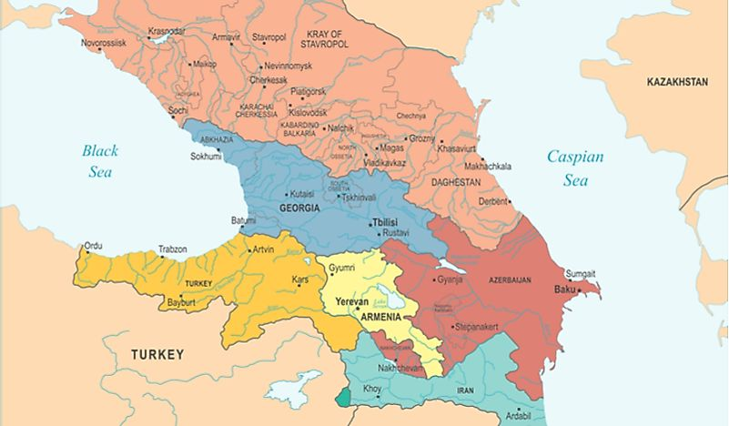 A map showing Armenia in the Caucasus region.
