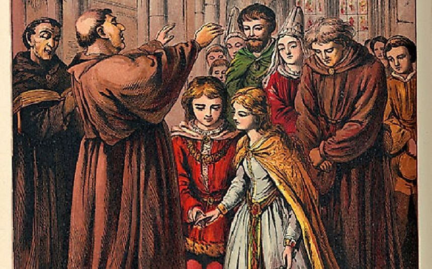 European children being married in a Middle Ages church, a common practice at the time concurrent with the significantly shorter life expectancies seen in the era.
