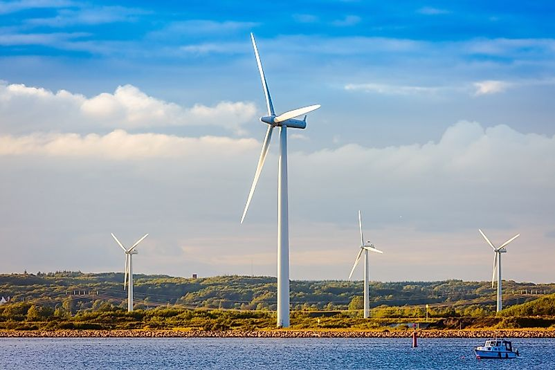 These wind turbines generate electricity along the Danish Baltic coastline. Denmark is one of the world's leading wind energy producers.