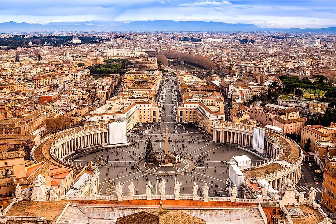 An aerial view of Vatican City.