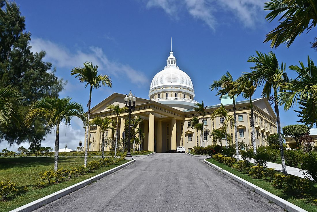 The capital building at Ngerulmud, Palau.