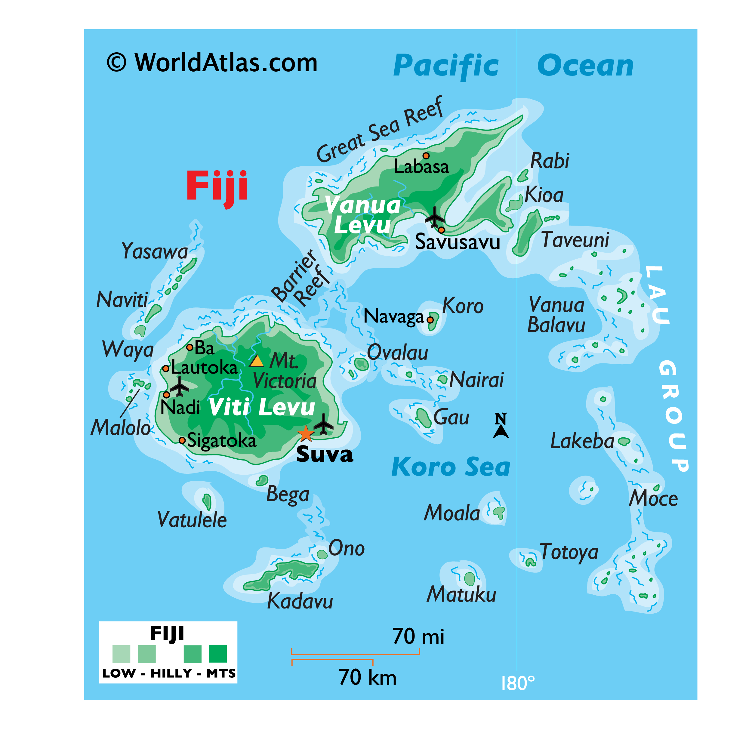 Physical Map of Fiji showing islands, relief, Mount Victoria, important settlements, etc.