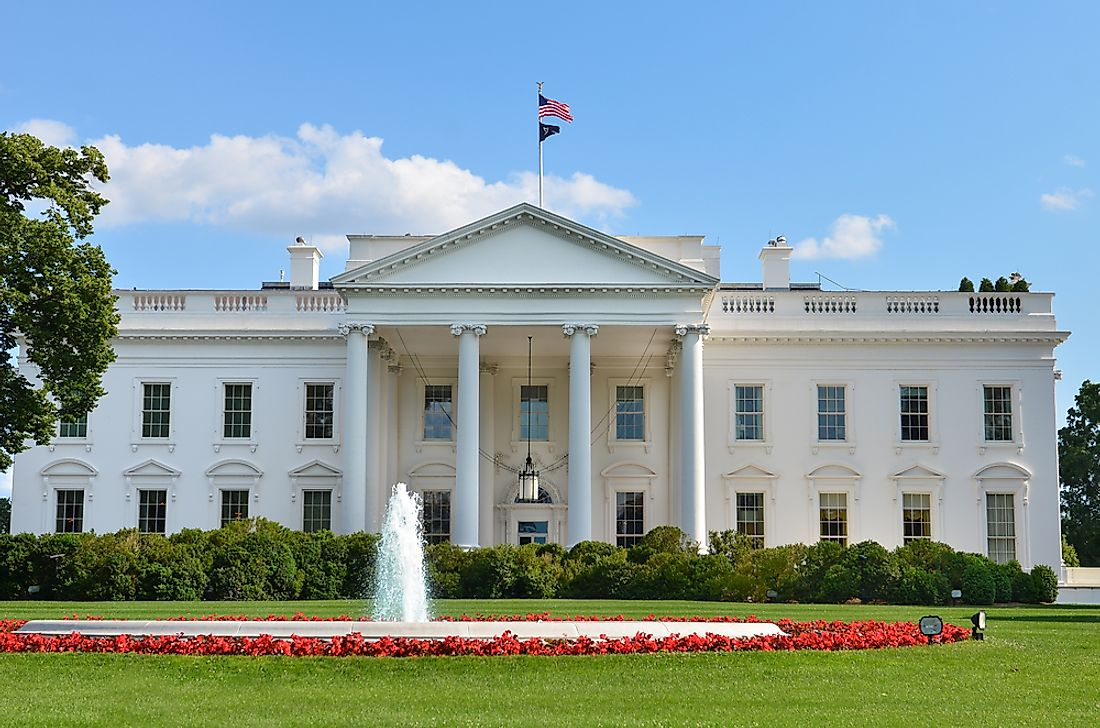 The White House is six stories tall.
