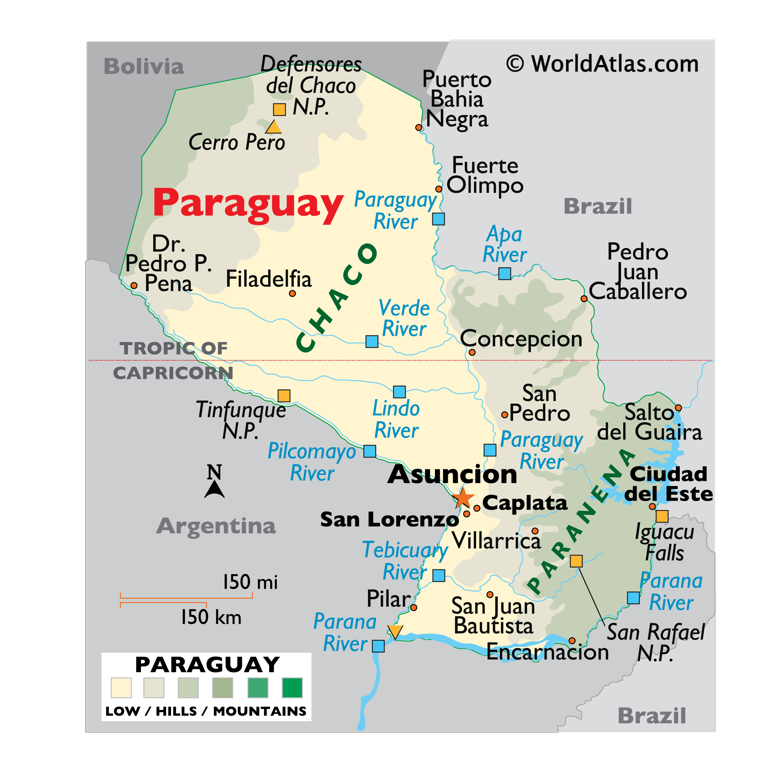 Physical Map of Paraguay showing relief, major rivers, geographical regions, protected areas, important settlements, bordering countries, etc.