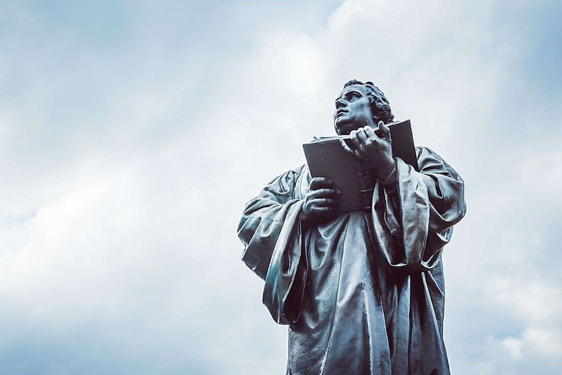 A statue of Martin Luther, the father of the Reformation.