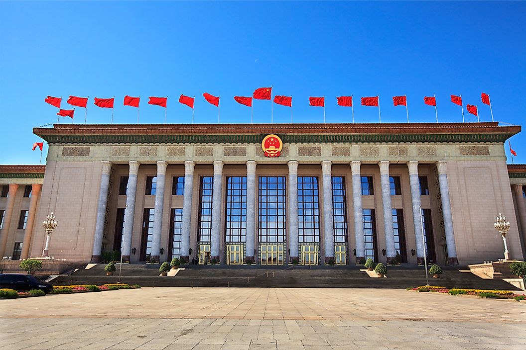 Located in Tiananmen Square, Beijing, the Great Hall of the People is China's government building.