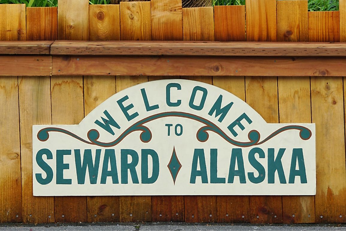 Welcome sign to the town of Seward, Alaska named for William H. Seward who negotiated the Alaska Purchase. Editorial credit: EQRoy / Shutterstock.com