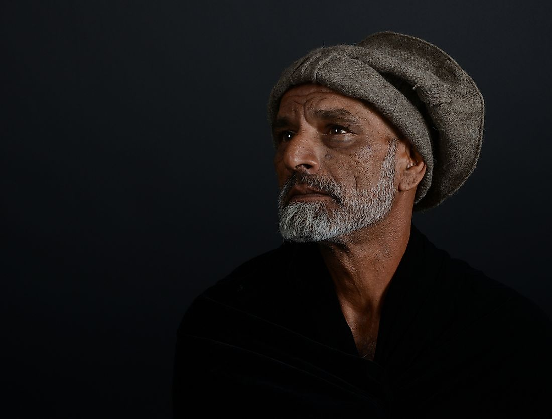 A portrait of an Afghan man.