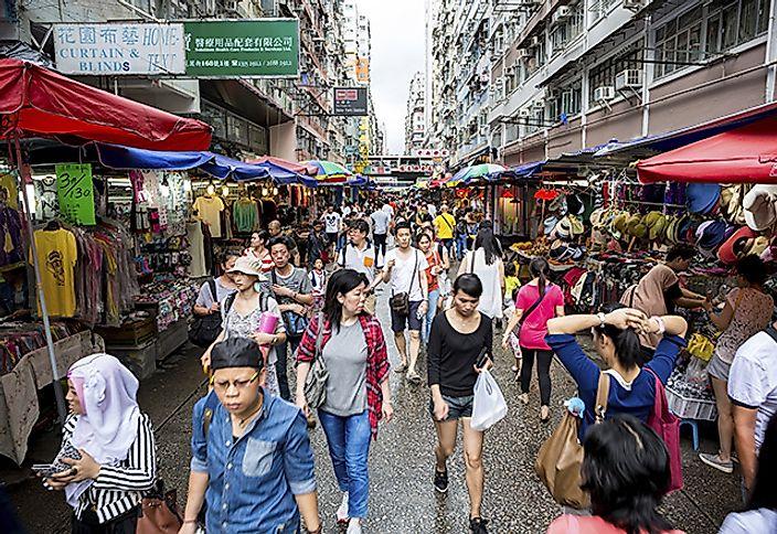 Crowd in street market, Hong Kong