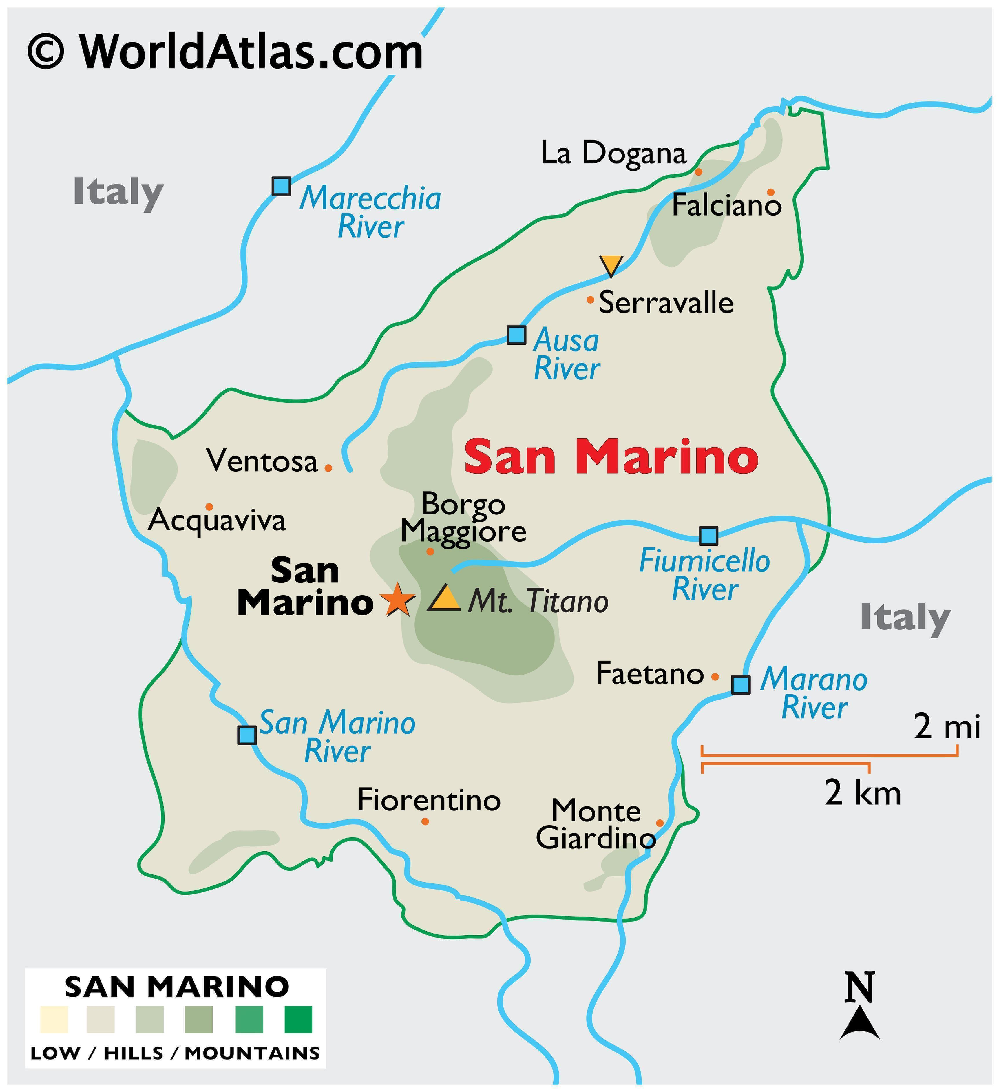 Physical Map of San Marino showing its relief, extreme points, rivers, etc.