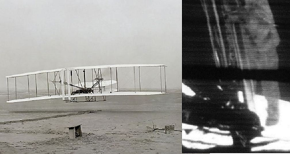 Left: The first successful powered flight of the Wright Flyer in 1903. Right: Armstrong takes the first human steps onto the moon in 1969.