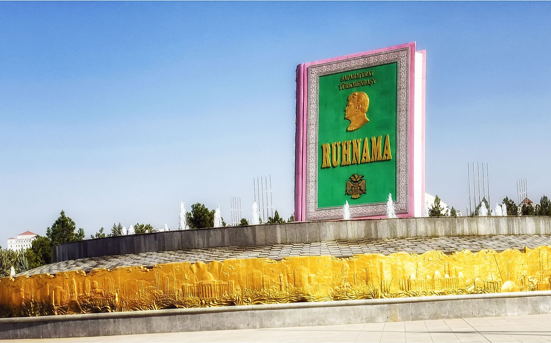 "A giant replica of ""Ruhnama"", the book that was written by Niyazov. Atosan / Shutterstock.com."