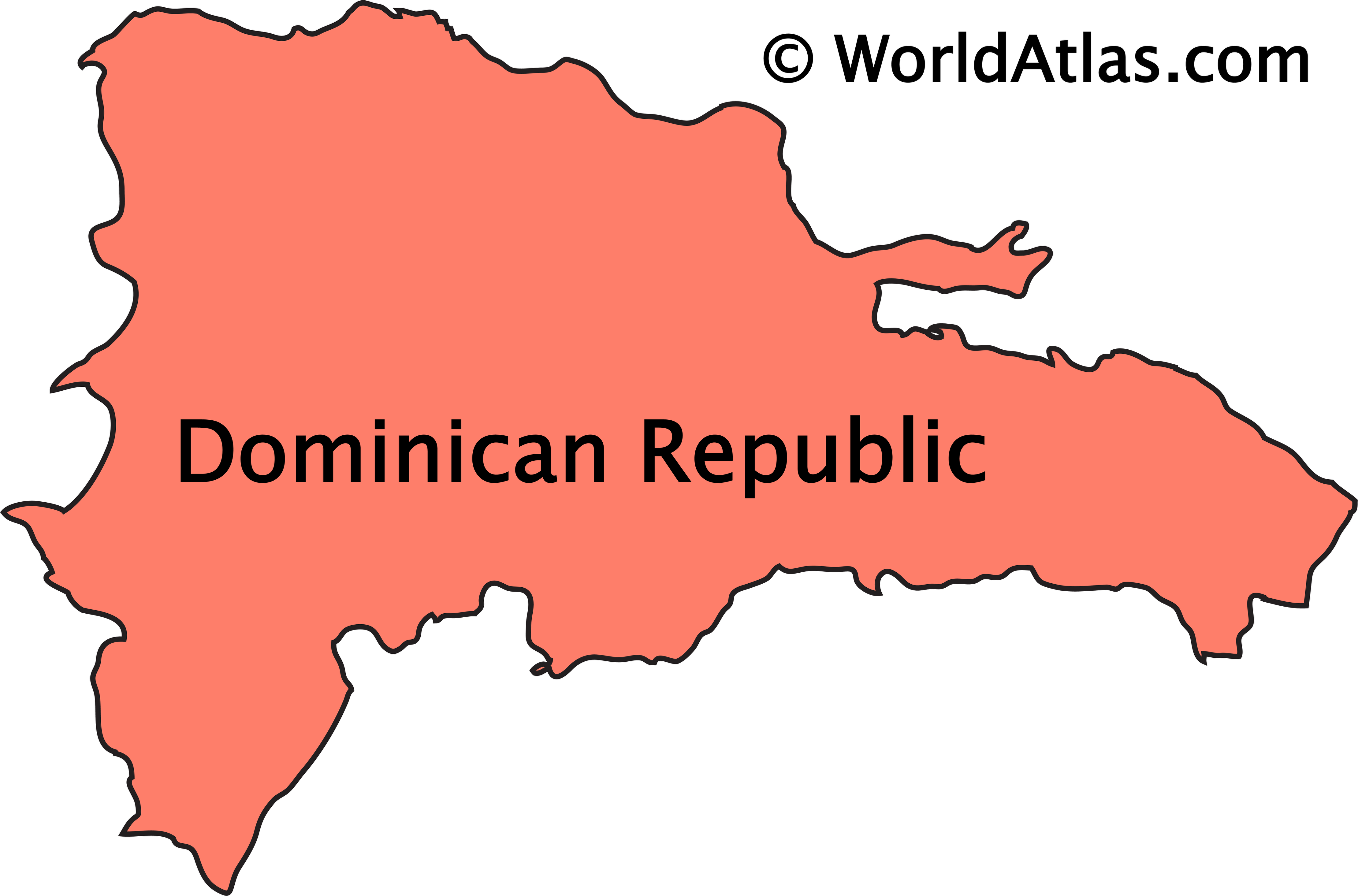Outline Map of The Dominican Republic