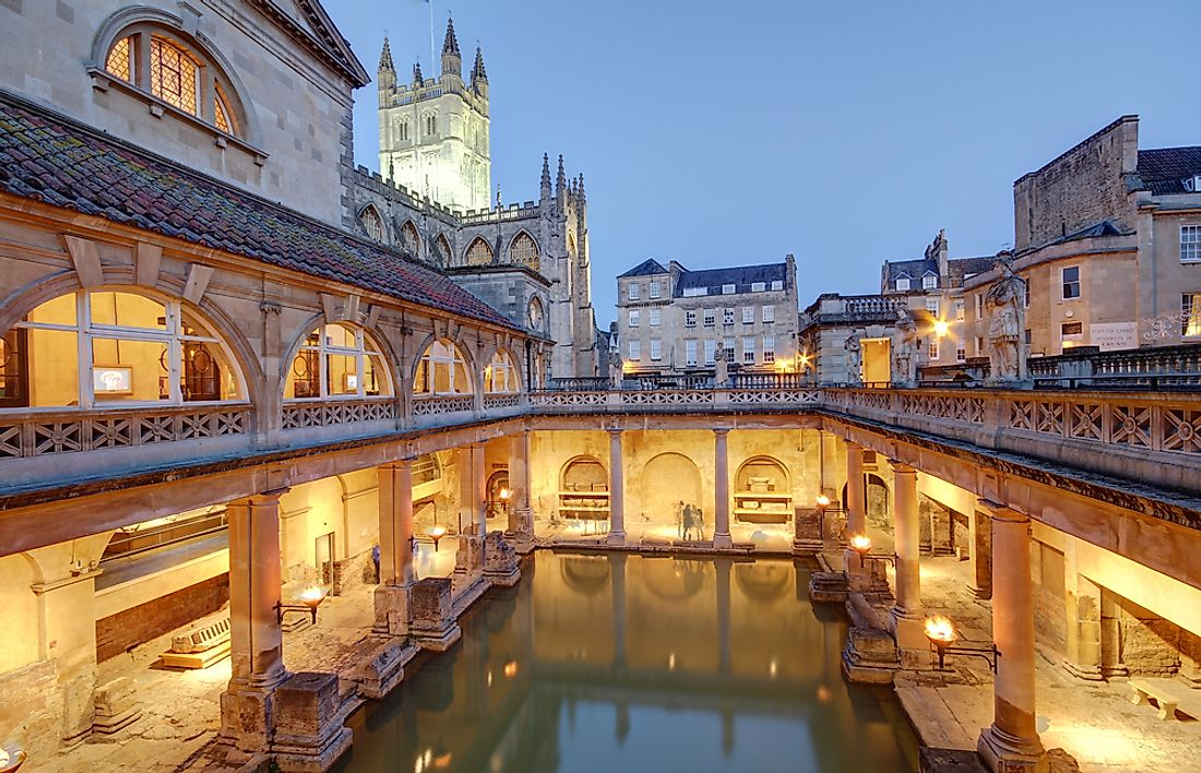 The historical site of the Roman Baths is a popular tourist attraction in England.
