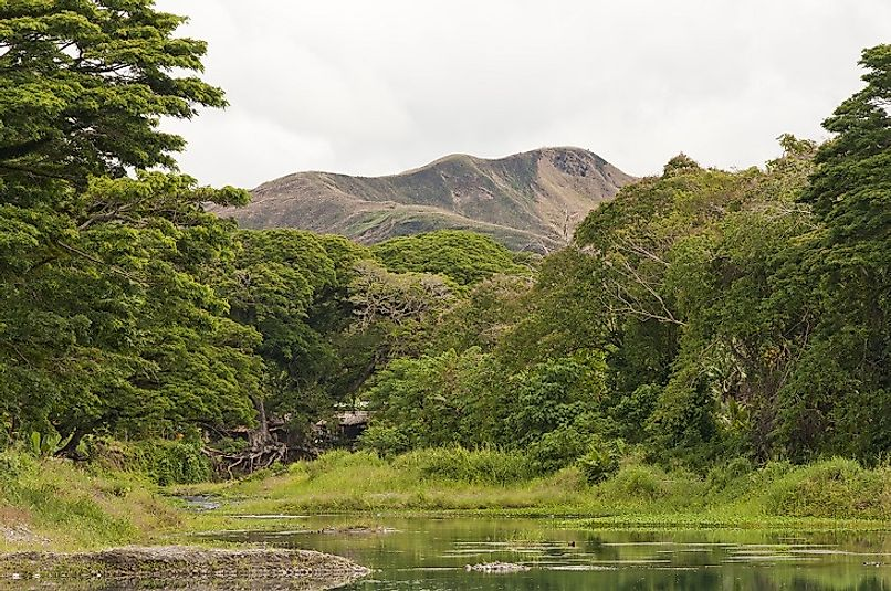 Makarakomburu is surrounded by an abundance of equatorial greenery on Guadalcanal in the Solomon Islands.