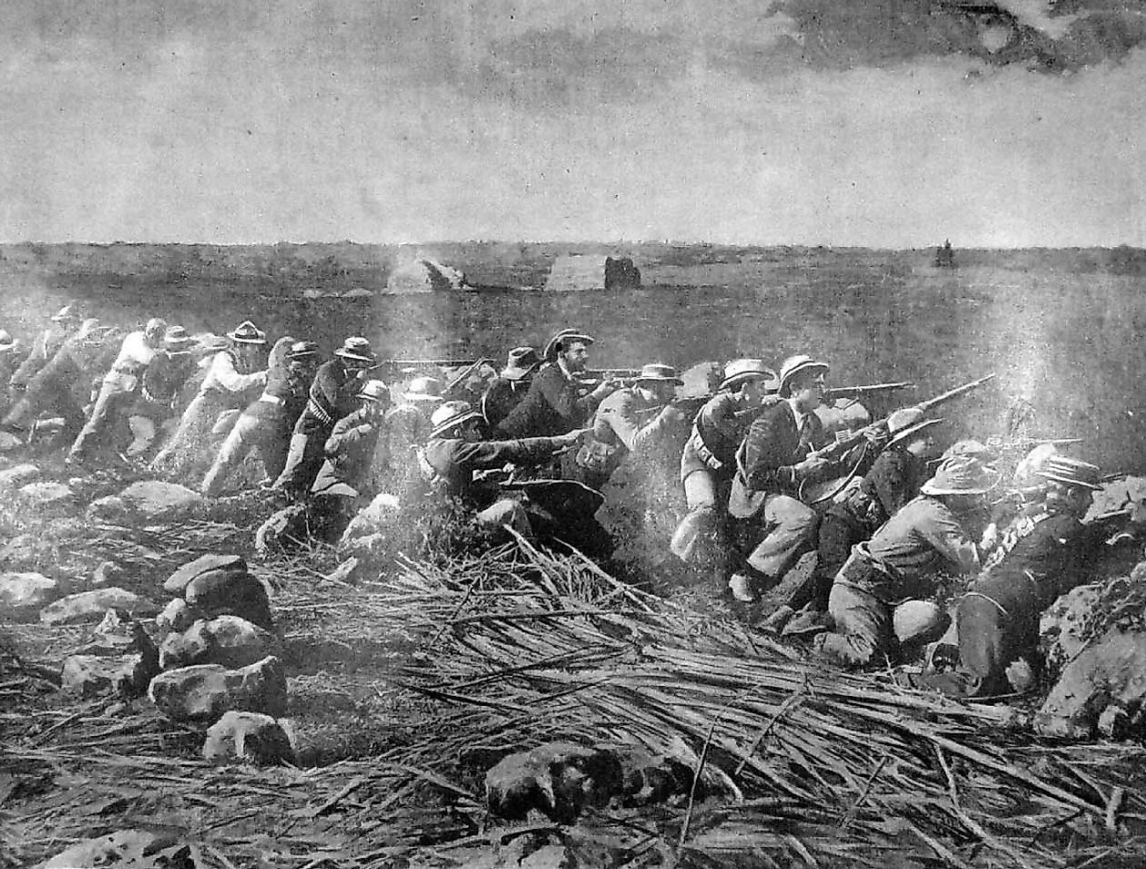 Boer soldiers fighting from the trenches during the battle in Mafeking.