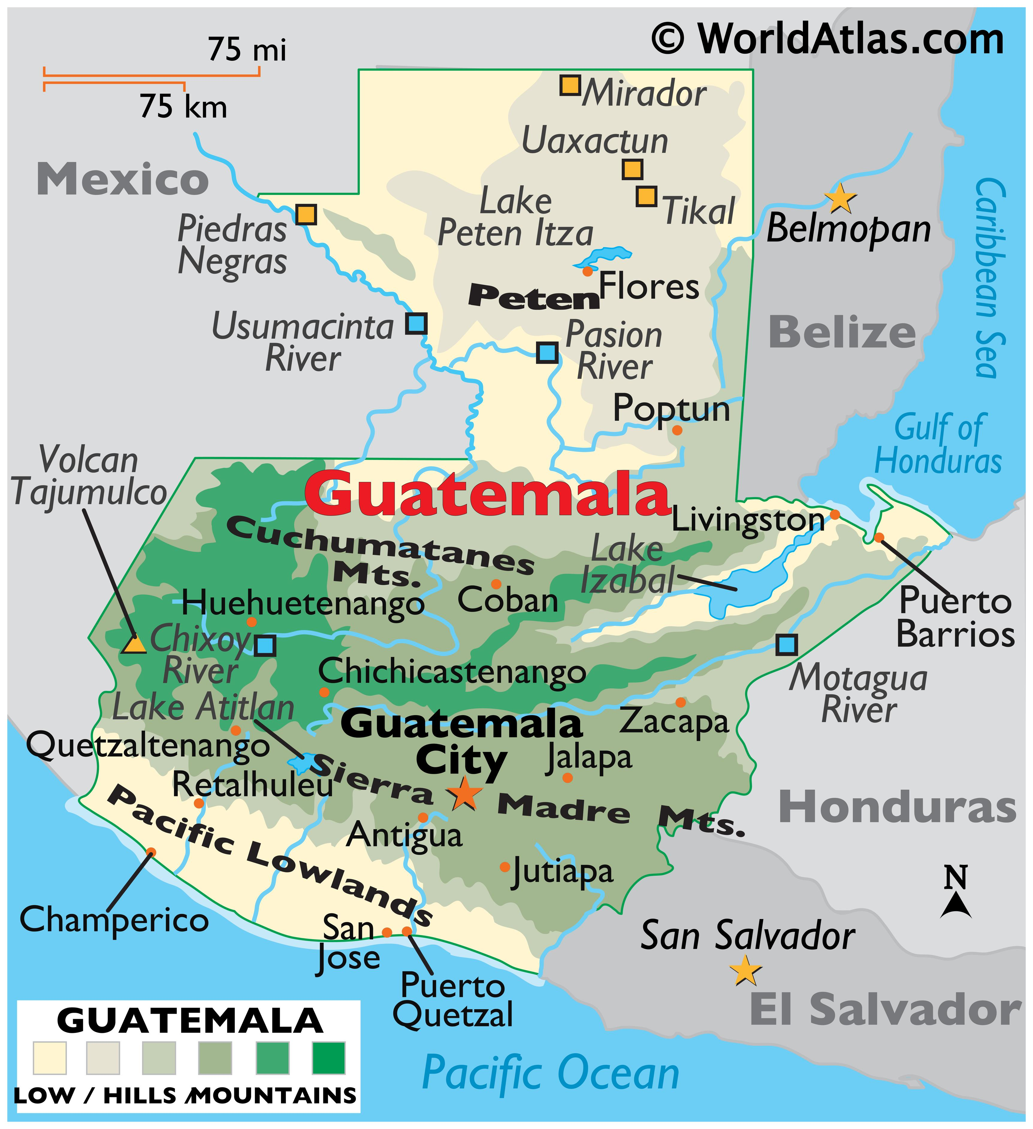 Physical Map of Guatemala showing terrain, major mountain ranges, highest point, rivers, Lake Izabal, the Peten region, important cities, international borders, etc.