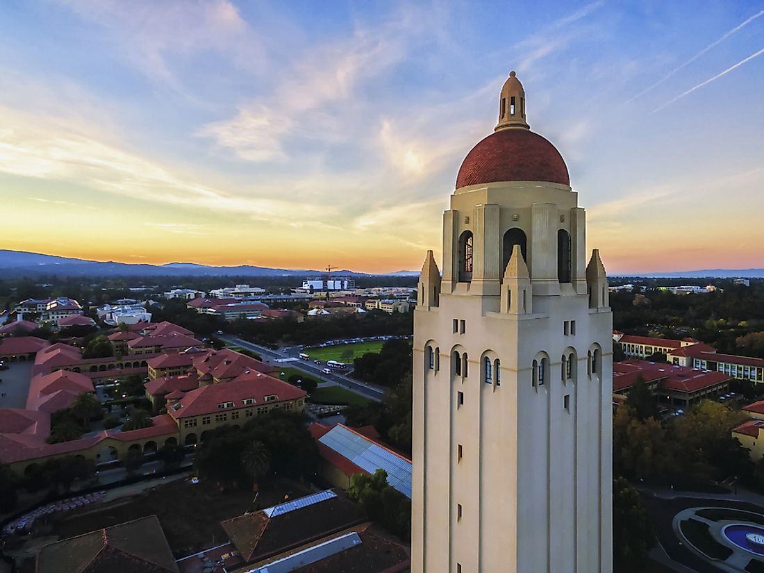 The tower of Stanford University.