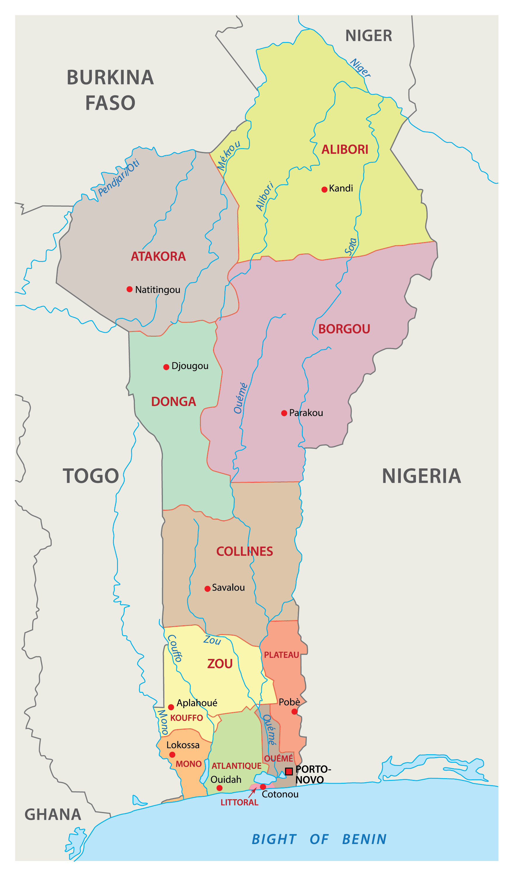 Political Map of Benin showing 12 departments and their capitals, and the national capital of Porto Novo.