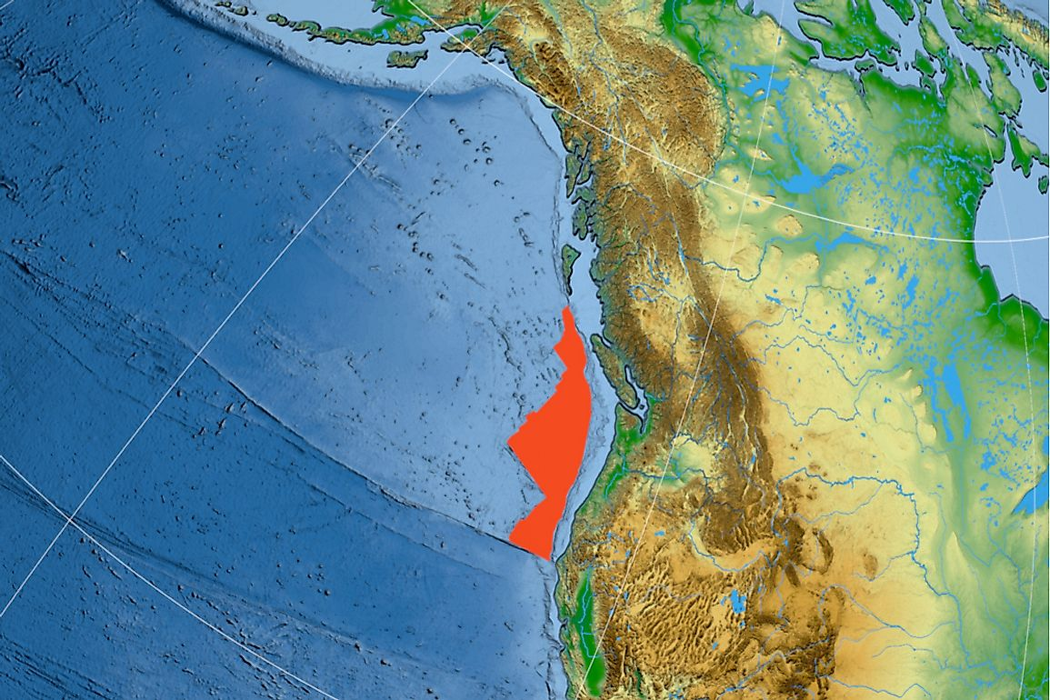 The Juan de Fuca plate sits between the North American plate and the Pacific plate.