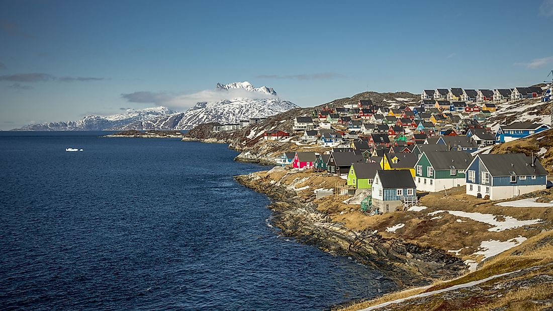 Colorful houses dot the coastline in Nuuk, Greenland, the largest and capital city.