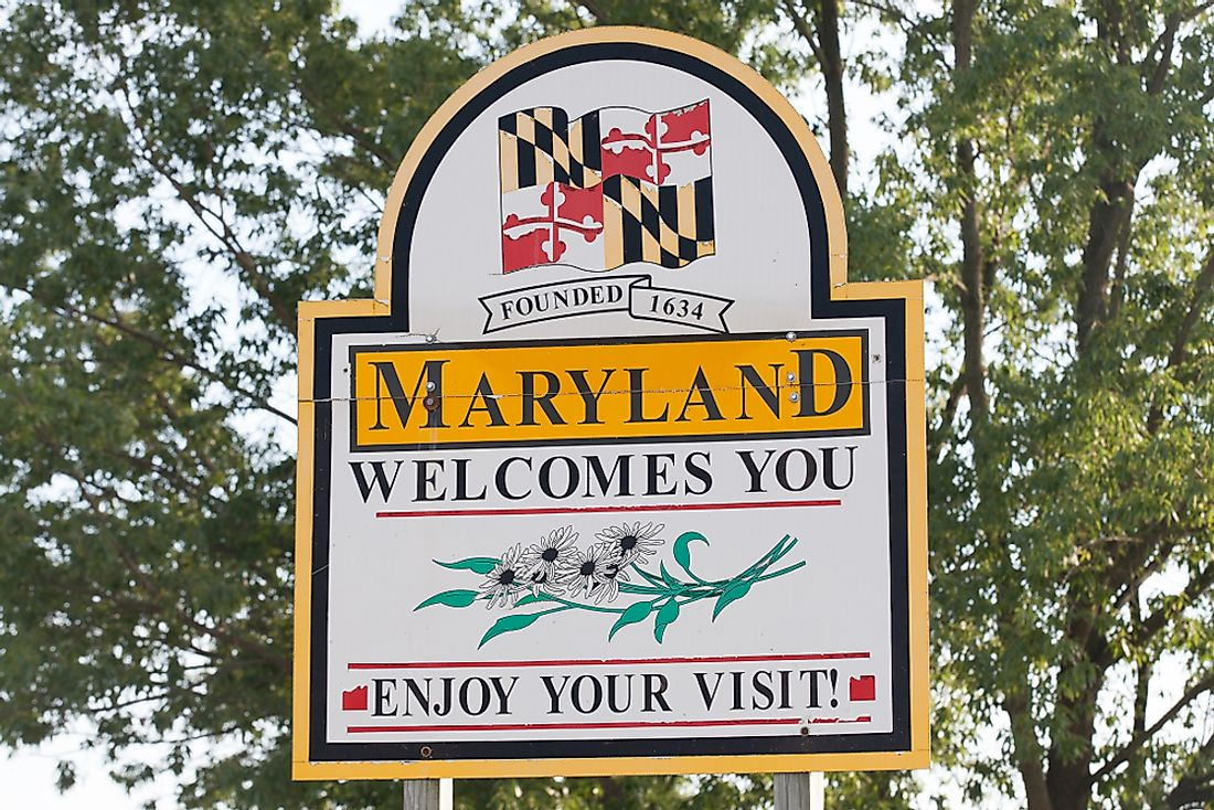"""Welcome to Maryland"" sign. Editorial credit: Mark Van Scyoc / Shutterstock.com."