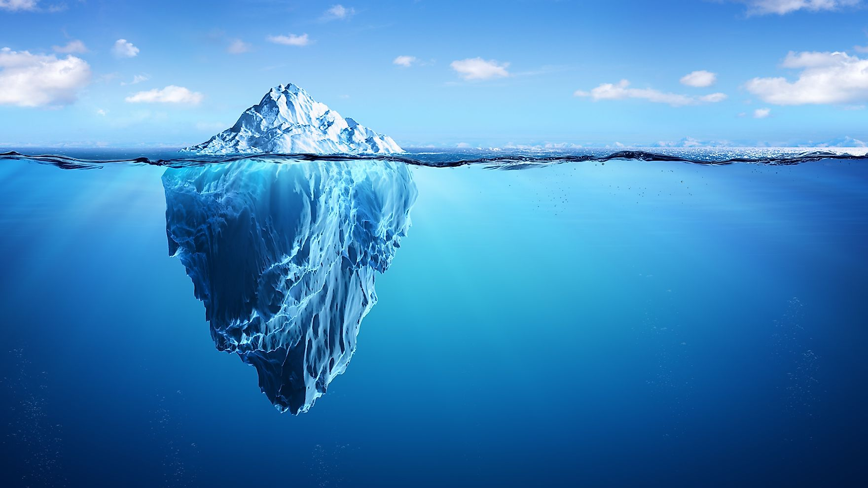 Only about 10% of the iceberg is visible above water.